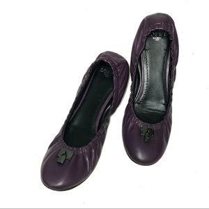 LOEWE Purple Leather Ballet Flat Shoes Padlock